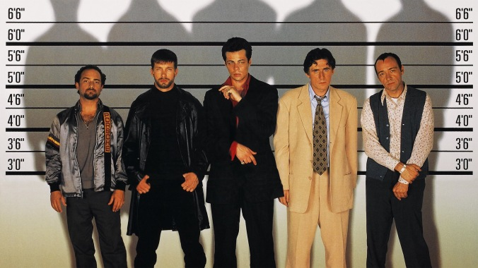 A picture showing the police id parade and line up from the film The Usual Suspects