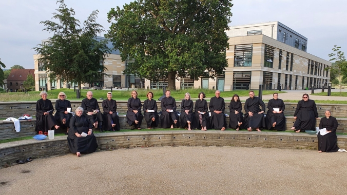 The Ordinands, soon to be Deacons, of the Diocese of Bath & Wells about to have their feet washed by Bishop Peter.